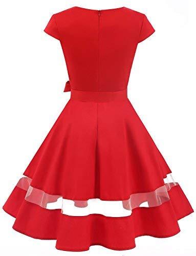 b2fbbb969ab ... Dresses/Gardenwed Women's V-Neck Audrey Hepburn 1950s Vintage Cocktail  Dress Cap Sleeve Retro Rockabilly Swing Party Dress Red-S. ; 