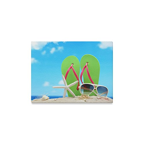 Canvas Print Valentine's Day Gifts Sunglasses Flip Flops Starfish On Beach Design Modern Wall Art for Home Room Office Decoration (16x12 - Sunglasses Nc Charlotte