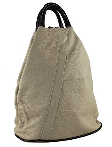 and Brown Italian Daypack Cream Daniela School Bag Backpack Moda Cavalieri Handbag Rucksack Leather UqPxSngx7w