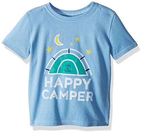 Life if Good Toddler/Kids Crusher Graphic T-Shirts Collection,Happy Camper,Powder Blue,3T