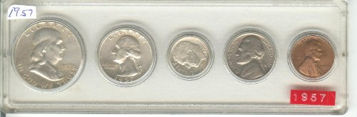 1957 BIRTH YEAR COIN SET- 5 COINS- HALF DOLLAR, QUARTER, DIME, NICKEL, AND CENT- ALL DATED 1957 AND DISPLAYED IN PLASTIC HOLDER- THESE COINS WILL BE AS GOOD OR BETTER THEN THE PICTURE- NOTHING LESS