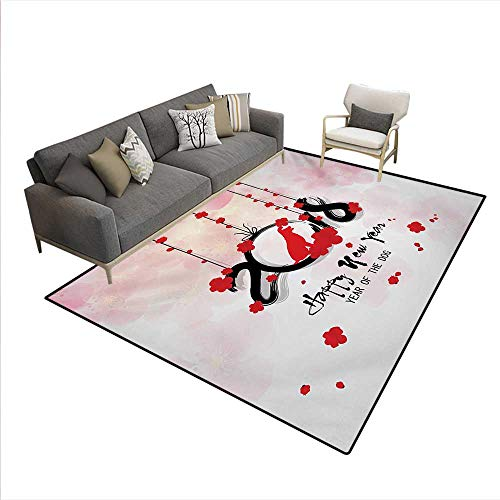 Floor Mat,Brush Calligraphy Year Cherry Blossom Silhouettes,Rugs Bedroom,Vermilion Black Pale Pink,6