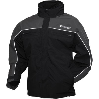 Frogg Toggs Men's Pilot Frogg Cruiser Rain Jacket (Black/Charcoal, Large) by Frogg Toggs