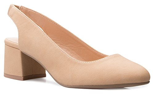 OLIVIA K Women's Round Toe Block Low Heel Slingback Dress Pumps - Comfort  Casual  Basic Style Natural Nubuck 9 B M  US (Women Platform Pump Slingback Heel)