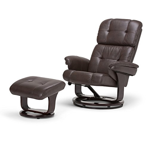 Simpli Home Merrin Euro Recliner, Brown (Euro Metal Chair)