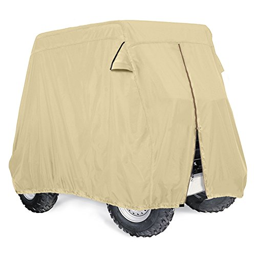 Leader Accessories 300D Golf Cart Cover Storage Fit EZ Go, Club Car, Yamaha Cart - Tan W Zipper