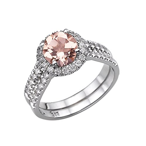 (14K White Gold 1.50 CT Natural Peach/Pink VS Morganite Ring with Diamonds Halo Double Shank Designer)
