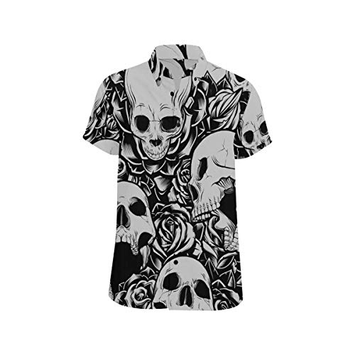 InterestPrint Men Regular Fit Short-Sleeve Skulls and Roses Collage Shirt Casual Button Down Tee -