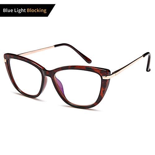VVDQELLA Womens Ladies Oversized Cat Eye Reading Glass, Blue Light Blocking Glasses, Spring Hinge Modern Eyeglass ()