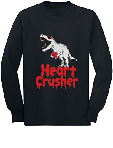 Heart Crusher T-Rex Love Toddler/Kids Long Sleeve T-Shirt 4T Black
