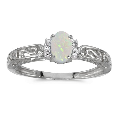 14k White Gold Oval Opal And Diamond Ring (Size 8) White Gold Oval
