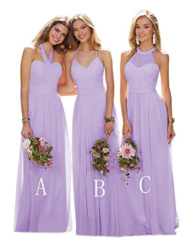 (Halter Long Bridesmaid Dresses for Women Ruched Bodice Chiffon Formal Evening Maxi Dress Lilac Plus Size 18)