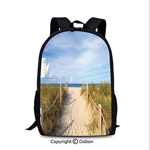 Fashion Breathable Backpack, Golden Sandy Beach South Miami with Fences American Style, School Bag :Suitable for Men and Women, School, Travel, Daily use, etc.Cream ()