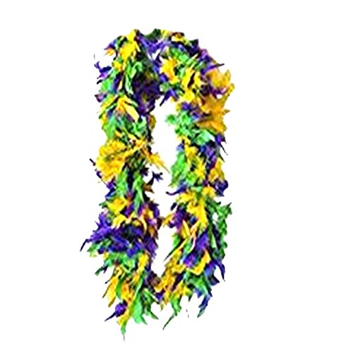 SACASUSA (TM) Green Yellow Purple with Gold tinsels Feather Chandelle Boa 6 feet long -