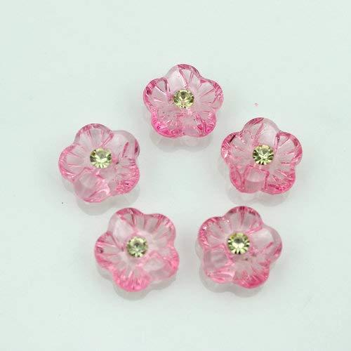 (Maslin Set of 100pcs Plum Blossom Flower Rhinestone Buttons 15mm Mixed Transparent Button Garment Plastic Fastener Shank for DIY Decor - (Color: Pink))