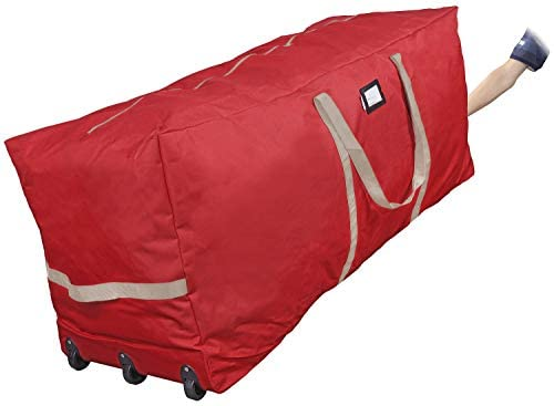 """ProPik Christmas Tree Storage Bag Rolling, Fits Up to 9 feet. Xmas Tree, 25"""" Height X 20"""" Wide X 60"""" Long, Extra Large Heavy Duty Storage Container with Wheels and Handles, 600D Oxford (Red)"""