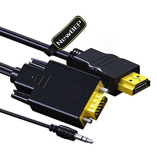 HDMI to VGA Cable Adapter with 3.5mm Audio Cord, NewBEP 1080P HD 6ft/1.8m Gold-plated HDMI Male to VGA Male Active Video Converter Cord Support Notebook PC DVD Player Laptop TV Projector Monitor Etc