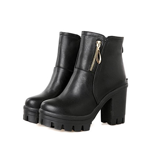 AmoonyFashion Womens Blend Materials Round Closed Toe High Heels Solid Boots Black 2vFMMF49YD