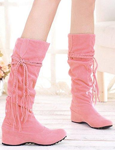 Minetom Herbst Und Winter Frauen Hohe Stiefel Mattoberflächen Höhe Erhöhen Schuhe Mit Quaste Rüschedekoration Rosa