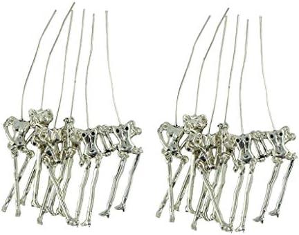 チャーム 人間 スケルトンボディ形 DIY金属チャーム ブローチ用 チベットシルバー 約12個入り