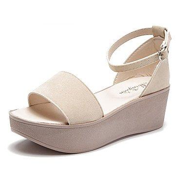 RUGAI-UE Moda de Verano Mujer sandalias casuales zapatos de tacones PU Confort caminar al aire libre,Almendros,US4-4.5 / UE34 / REINO UNIDO2-2.5 / CN33 Beige