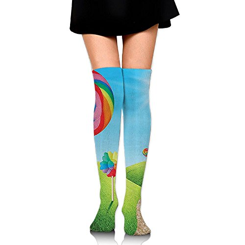 LOIOI67 Fantasy Candy Land with Delicious Lollypops Training Socks Crew Athletic Socks Long Sport Soccer Socks Soft Knee High Sock Compression Socks for Men Women