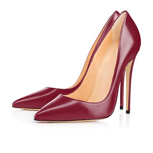 Femmes Talon Aiguille Stilettos Chaussures uBeauty Chaussures 120MM Talons Chaussures PU Haut Grande rouge Talon Vin Escarpins Femme Taille Yq5wO
