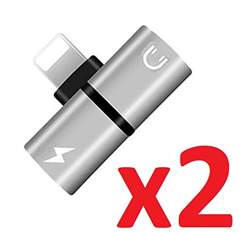[2 Pack] iPhone Lightning Splitter Adapter, iFlash 2in1 Audio & Charging Lightning Splitter for Apple iPhone Xs MAX, XR, X, 8 Plus, 8, 7 Plus, 7 2019 2018 2017 8Pin Adapter (Silver)
