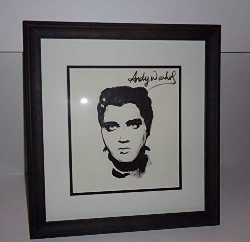 (Andy Warhol Signed Ink Drawing, Original Artwork, Pop Art Drawing Elvis Presley with Frame Very Collectible )