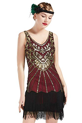 - BABEYOND Women's Flapper Dresses 1920s V Neck Beaded Fringed Dress Great Gatsby Dress (Gold WineRed, M)