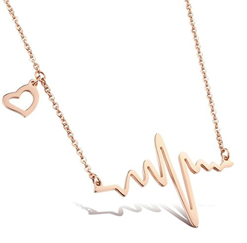 WUSUANED Rose Gold Heartbeat Pendant Necklace with Small Cute Heart Charm for Doctor Nurse Medical Student