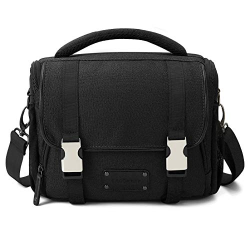 BAGSMART Compact SLR/DSLR Camera Shoulder Bag Camera Case with Waterproof Rain Cover & Trolley Strap, Black ()