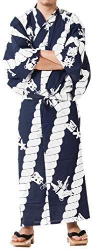 Tokyoin Traditional Made in Japan Cotton Yukata Robe (Japanese Pajama Kimono) Easy Wearing Unisex Design OBI Yukata set2 Navy & Sumo 61 X-Large ()