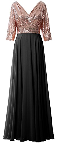 V Mother Rose Sequin MACloth Gown Women Formal 3 Dress Wedding Chiffon Gold 4 Neck Black Sleeve wwaUIY