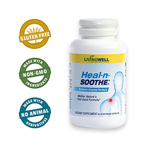 HEAL-N-SOOTHE 90 Count Pain Relief Anti Inflammatory Supplement Broad Spectrum Enzyme 90 Caps