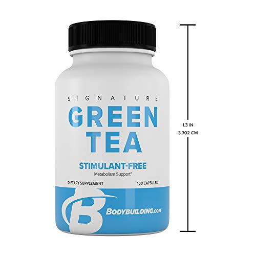 (Bodybuilding Signature Green Tea Extract Capsules | EGCG Fat Fighting Supplement | Antioxidant Booster | Gluten Free 100 Pills)