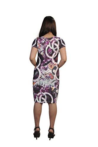 Vestido de manga corta, estampado con dibujos coloridos de las mujeres multicolore