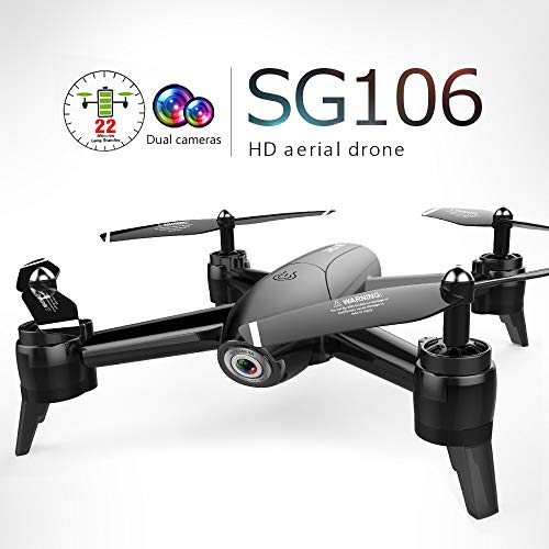 GoolRC Drone with Dual Camera SG106 Optical Flow 1080P Wide Angle WiFi FPV Altitude Hold Gesture Photography Quadcopter with 2 Battery