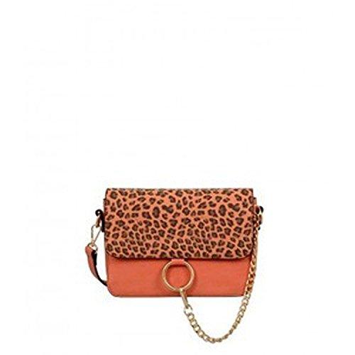leopard animal cheetah golden chain cross body top handle satchel purse (Orange)
