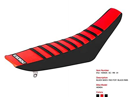All Black Enjoy MFG Ribbed Seat Cover for Honda CRF 110 Red Ribs