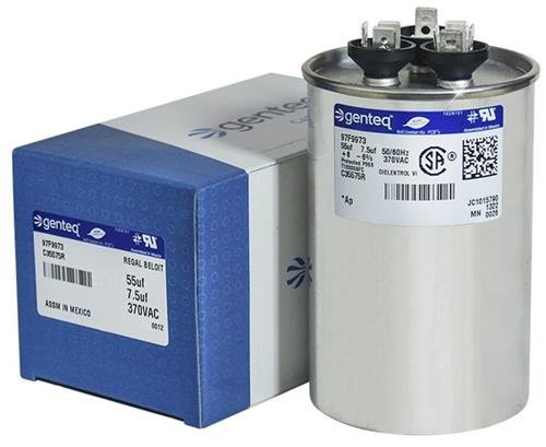 Genteq - 55 + 7.5 uF MFD x 370 VAC GE Industrial Replacement Dual Capacitor Round # C35575R / 97F9973 by Genteq