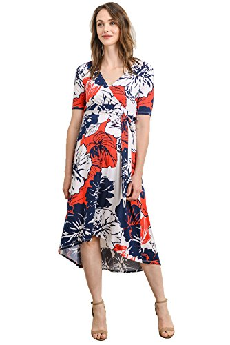 Hello MIZ Women's Floral High-Low Surplice Wrap Nursing and Maternity Dress...