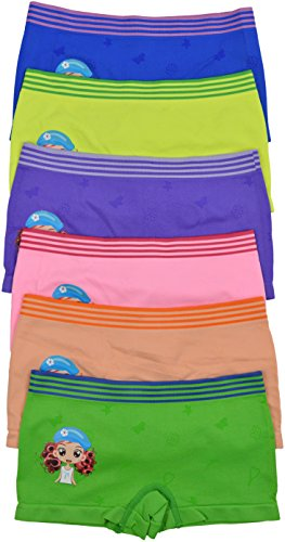 (ToBeInStyle Girls's Pack of 6 Graphic Design Boyshorts - Driving Cap Girl - Large)