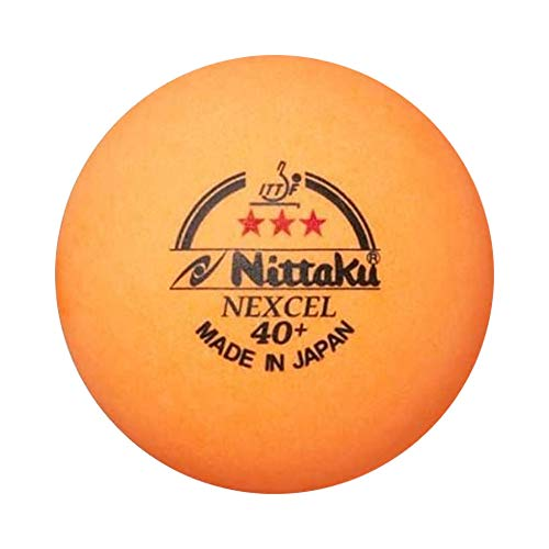 NITTAKU 12 Balls NEXCEL (Made in Japan), 40+ Orange 3 Stars Table Tennis Ball + Free Racket Protection Edge Tape