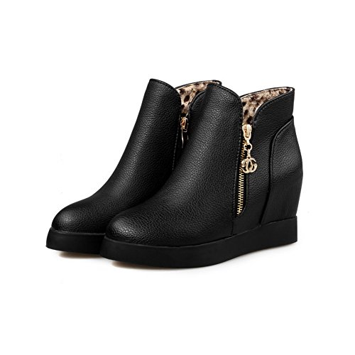 BalaMasa Zipper Leather Ladies Imitated Inside Metalornament Black Boots Heighten FcrF01WRB