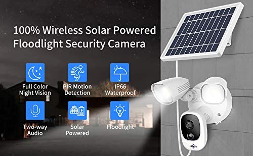 Hiseeu Solar Powered Floodlight Camera,Wireless Security Camera,12000mAh Rechargeable Batteries,High Brightness LED,Color Night Vision,IP66 Waterproof,1080P,Motion Detection,2-Way Audio,Cloud Storage
