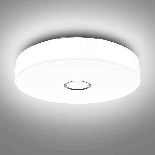 Onforu 18w Plafonnier Led Salle De Bains Imperméable Rond Mince Ip65 Irc90 1600lm 5000k Blanc Froid Lampe De Plafond Moderne Pour Chambre