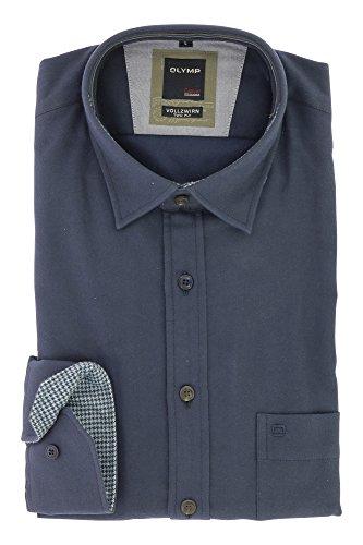 OLYMP Herren Casual Vollzwirn Two Ply Freizeithemd mit Kent Kragen Comfort Stretch 100% Baumwolle Gr.L Marine Blau