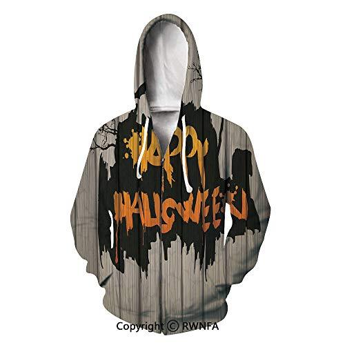 Unisex Hoodie Rap Cool Halloween Decorations on Wooden Fence Pullover Hooded Sweatshirt]()