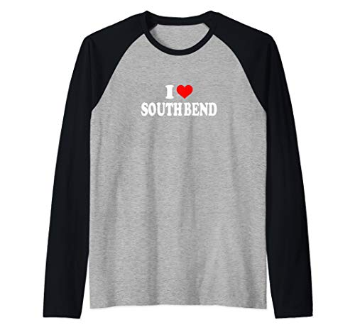 I Love South Bend Raglan Baseball - Baseball Bend South